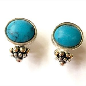 Turquoise Silver Gold Earrings